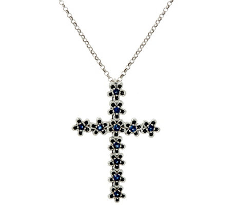 Or Paz Sterling Silver Precious Gemstone Cross Pendant w/Chain