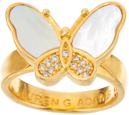 Lauren G Adams Goldtone Mother-of-Pearl Butterfly Ring
