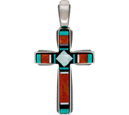 American West Sterling Silver Gemstone Inlay Cross Enhancer