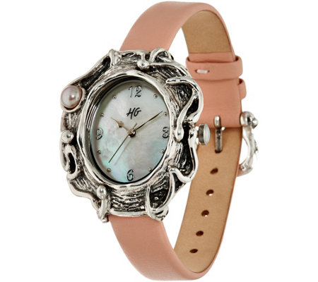Hagit Sterling Silver Leather & Pearl Watch