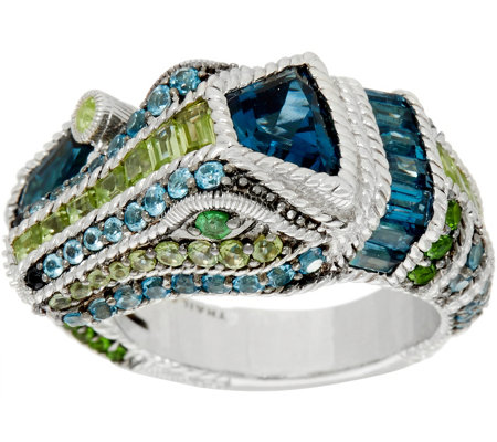 Judith Ripka Sterling Silver Gemstone Carmen Crocodile Ring, 5.95 cttw