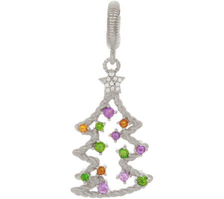 Judith Ripka Sterling Silver Gemstone Christmas Tree Charm