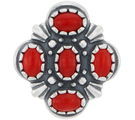 American West Sterling Silver Red Coral Cluster Enhancer