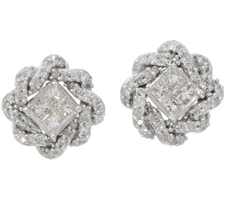 Princess & Round Pave Rope Border Studs, 1/4 cttw, 14K, by Affinity