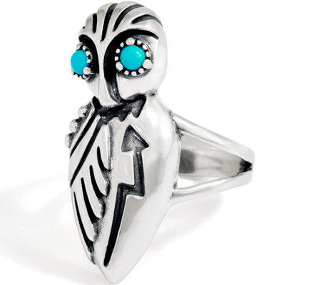 American West Sterling Silver Sleeping Beauty Turquoise Owl Ring
