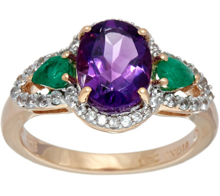 """As Is"" Oval Amethyst & Pear Emerald White Zircon Ring, Sterling 2.00ct"