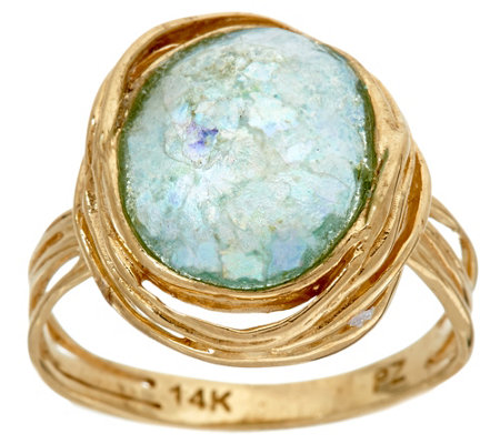 """As Is"" Roman Glass Textured Ring, 14K Gold by Adi Paz"