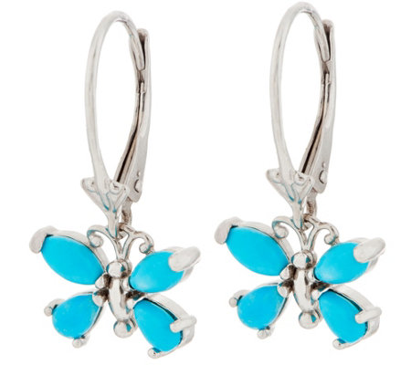 Turquoise or Ethiopian Opal Butterfly Earrings, Sterling Silver