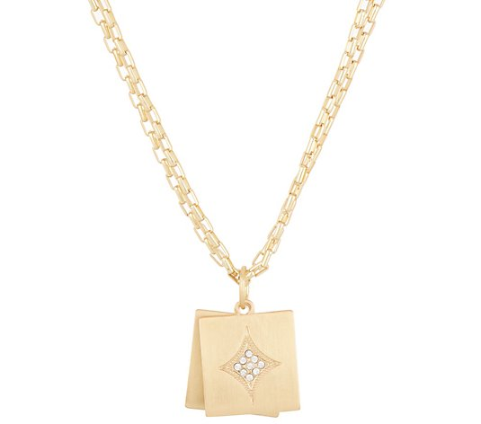 BROOKE SHIELDS Timeless Double Charm Necklace with Crystal Accents
