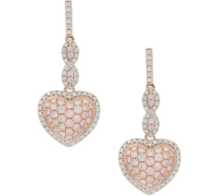 Natural Pink Diamond Heart Design Earrings 1.25 cttw, 14K, by Affinity