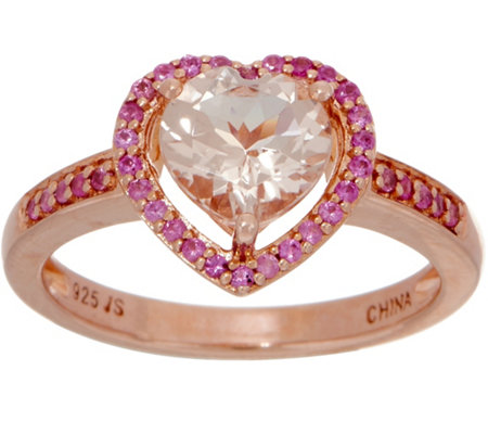Morganite and Pink Sapphire Heart Ring, Sterling Silver