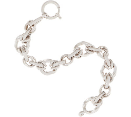 Sterling Silver Interlocking Rolo Link Small Bracelet, 12.6g