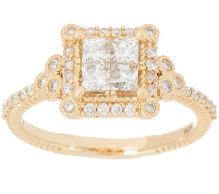 Judith Ripka 14K Gold Square Diamond Seamless Ring, 1.00cttw