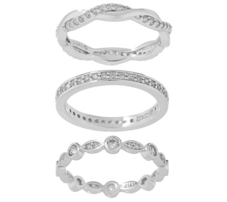 Diamonique Set of Three Eternity Bands, Sterling or 14K Gold Clad