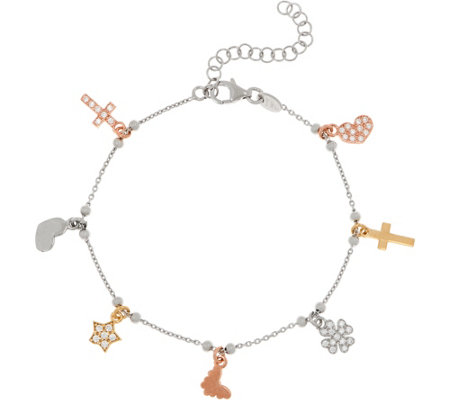 Diamonique Charm Bracelet Sterling