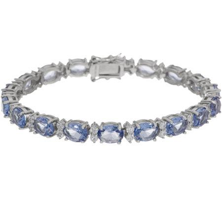 Diamonique Simulated Tanzanite Oval Tennis Bracelet Sterling Silver