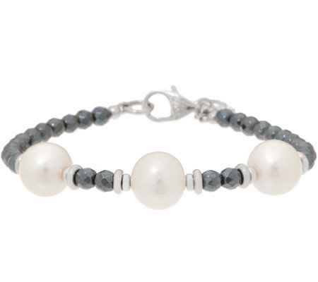 As Is Honora Ming Pearl Gemstone Bracelet Sterling