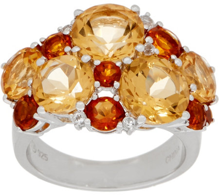 Sterling Silver Gemstone Cluster Ring 6 50 Cttw