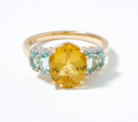 Colors of Apatite & Diamond Ring, 3.60 cttw, 14K Gold