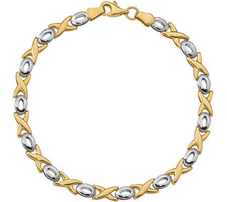 Italian Gold Two Tone X O Bracelet 14k