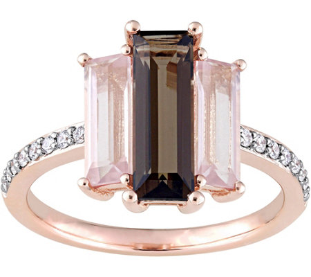 3 cttw Smokey and Rose Quartz 1/7 cttw DiamondRing, 14K