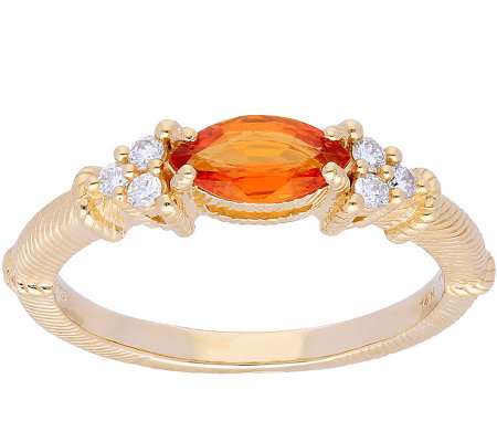 Judith Ripka 14K Gold Orange Sapphire Diamond Ring