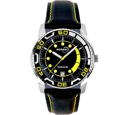Tourneau Men's Stainless Black Leather Strap Sport Watch