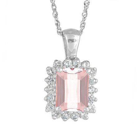 14K Gold 1.40 cttw Emerald-Cut Morganite Halo Pendant w/ Chai
