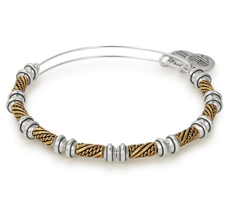 Alex and Ani Two-Tone Quill Beaded Bangle