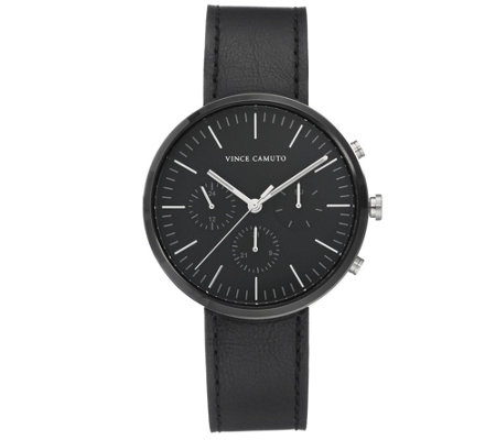 Vince Camuto Men's Multi-Function Black LeatherStrap Watch