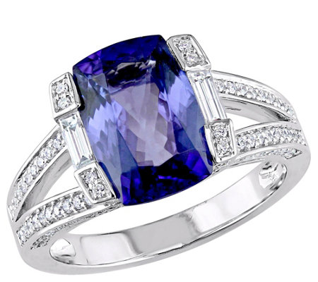 14K Gold 3.20 cttw Cushion Tanzanite & 1/2 cttwDiamond Ring
