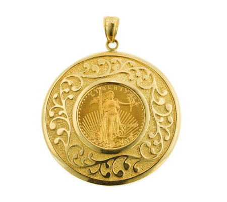 14k 22k Gold Round Medallion Liberty Coin Pendant