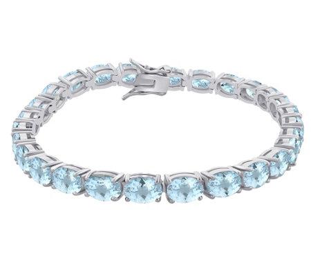 Sterling Silver 25 50 Cttw Aquamarine 7 1 2 Tennis Bracelet