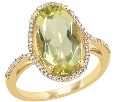 Bellini 7.00 cttw Lemon Quartz & 1/7 cttw Diamond Ring