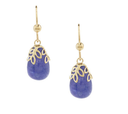 Oval Tanzanite Cabochon Drop Earrings 14k Gold