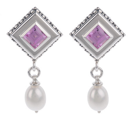 Michael Dawkins Sterling 2 40ct Lab Created Pink Shire Earrings