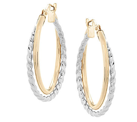 Eternagold Two Tone Double Hoop Earrings 14k Gold