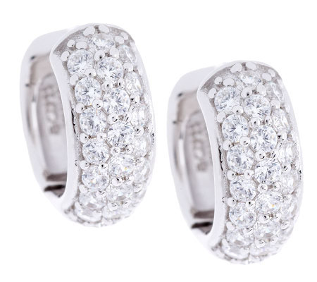 Epiphany Diamonique Pave Huggie Hoop Earrings