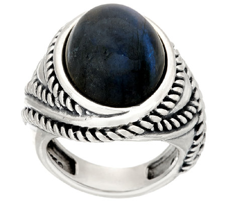 Carolyn Pollack Sterling Silver Oval Labradorite Bold Ring