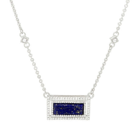 Judith Ripka Sterling Lapis & Diamonique Necklace