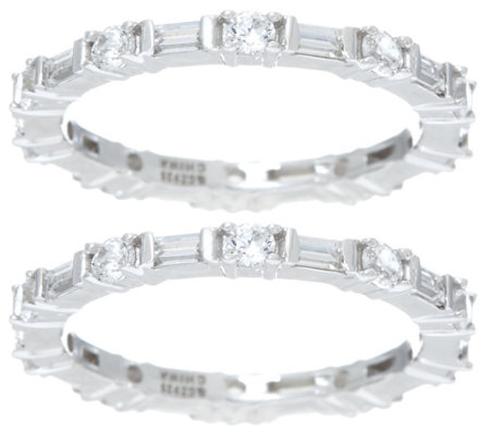 Diamonique Set of 2 Round and Baguette Eternity Bands, Sterling