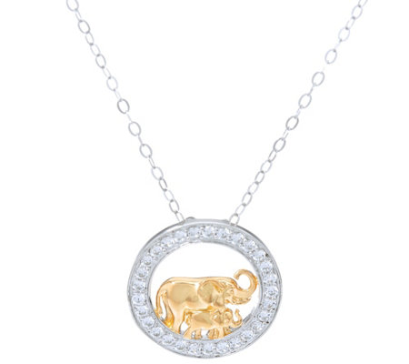 TOVA for Diamonique Elephant Pendant w/ Chain, Sterling