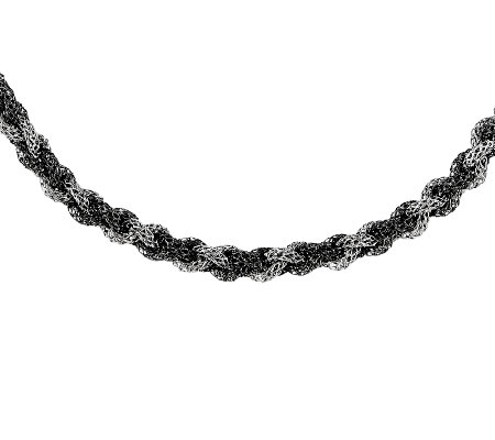 Sterling & Ruthenium Twisted Mesh Necklace, 18""