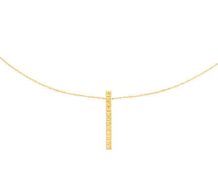 Diamond-Cut Rectangular Slide w/ Chain, 14K Gold