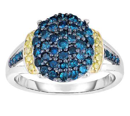 Blue & Yellow Diamond Ring, 1.00cttw, Sterling,by Affinity