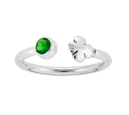 Sterling Green Crystal & Four-Leaf Clover Adjustable Ring