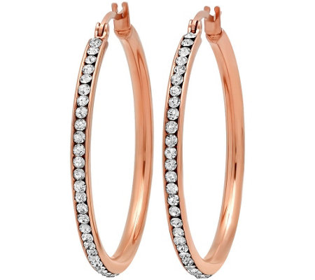 "Steel by Design 1-1/2"" Crystal-Lined Hoop Earrings"
