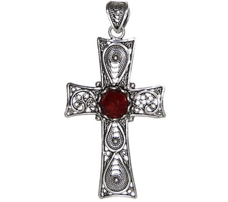 Artisan Crafted Sterling Filigree Gemstone Cross Pendant