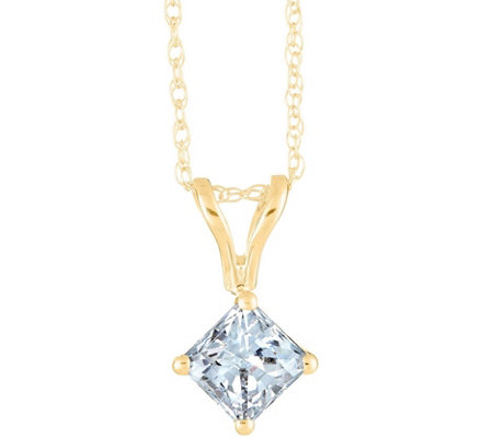 Princess-Cut Diamond Pendant, 14K Yellow, 1/4cttw, by Affinity