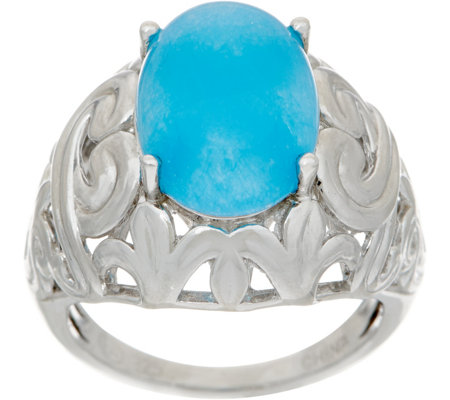 Oval Jade Sterling Silver Ring,